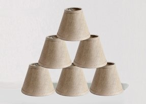 Linen chandelier mini lamp shades clip on hardback oatmeal 3x6x5