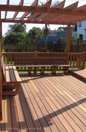 Deck benches foter for Redwood deck plans
