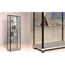 Modern Black Glass Wine Cabinet Curio