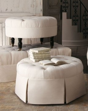 Round tufted leather ottoman 4