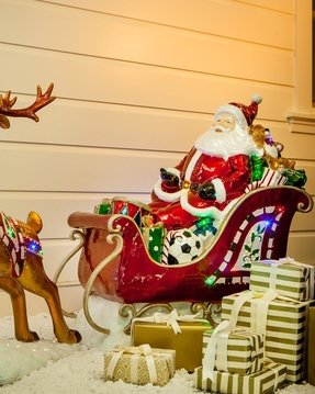 santa and sleigh with reindeer outdoor decorations - Decorative Christmas Sleigh Sale