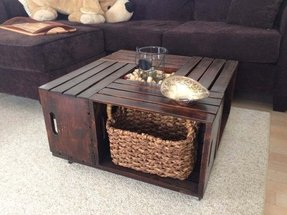 Shipping crate coffee table