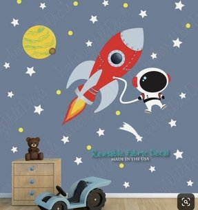 Space wall decal with astronaut planets