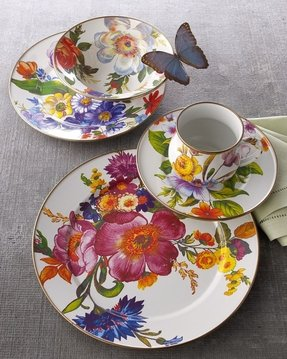 White Dishes With Blue Flowers