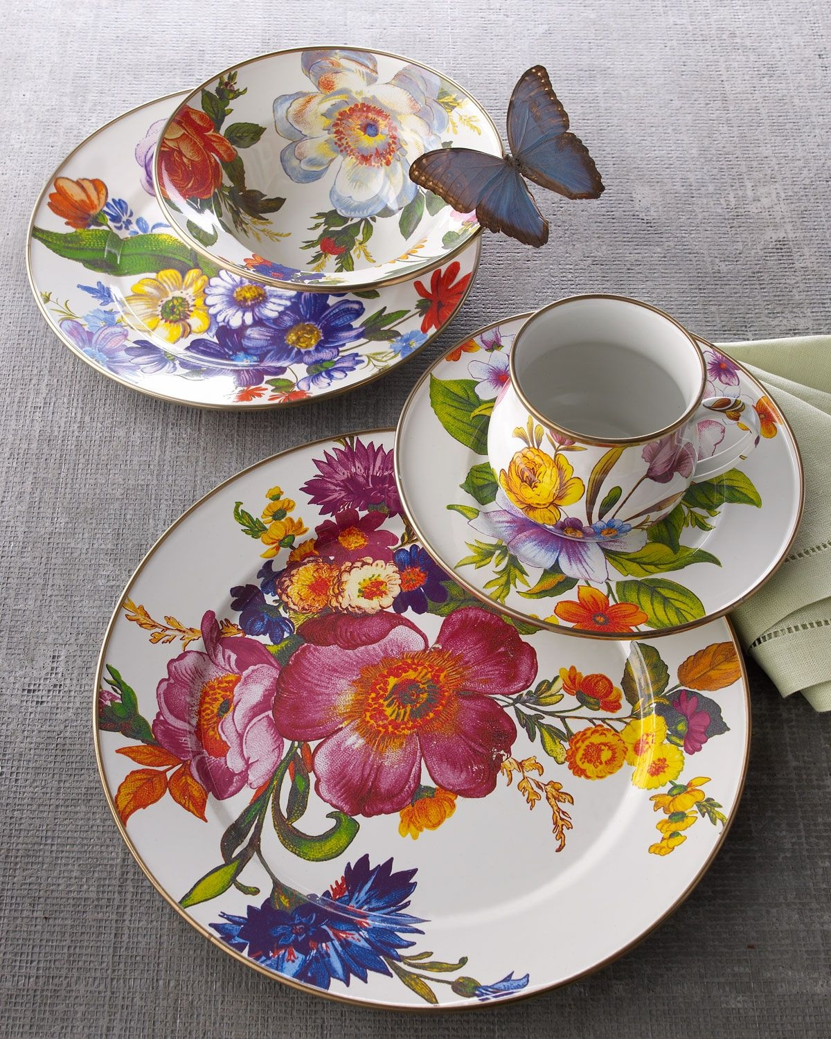 White dishes with blue flowers & Floral Dinnerware Sets - Foter