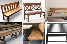 Wood Dining Bench With Back