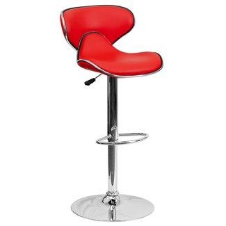 Best ergonomic adjustable height bar stool chrome red swivel seat