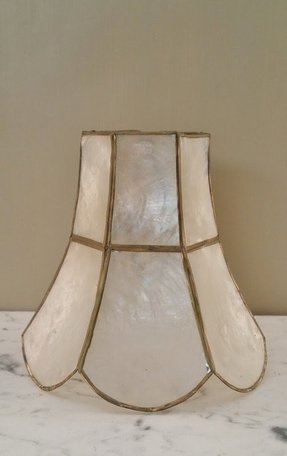 Capiz shell lampshade clip on