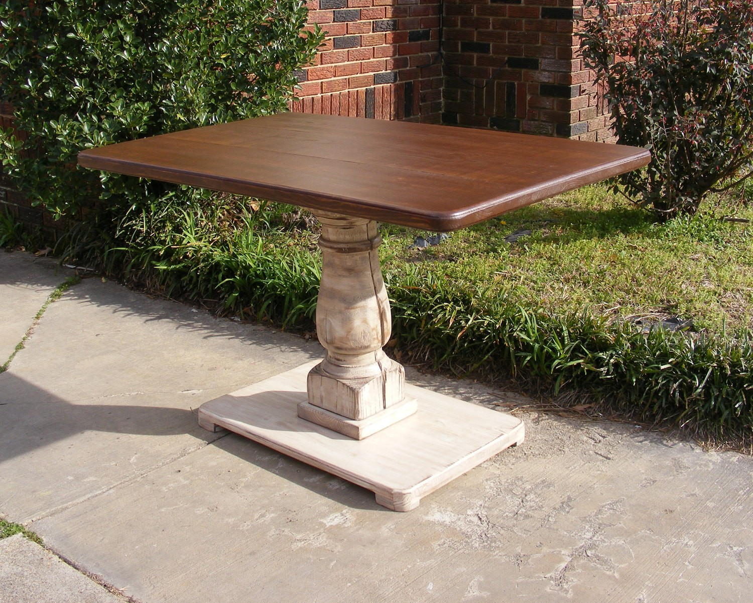 Handcrafted rectangle pedestal table
