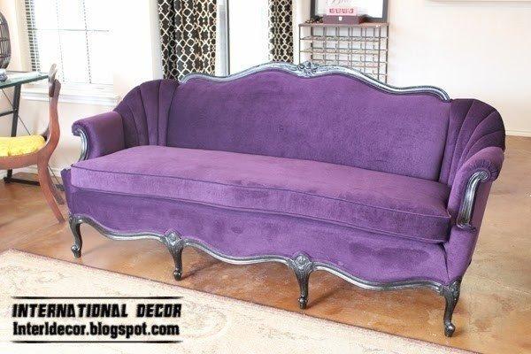 Luxury Purple Sofa For Living Room Velvet Purple Sofa