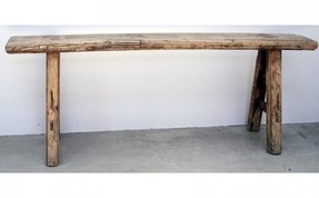 Narrow rustic elm bench