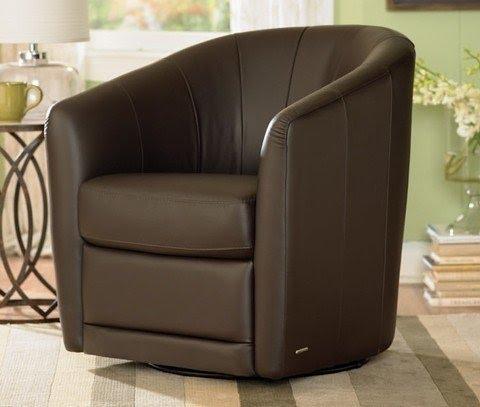 Wonderful Natuzzi Editions Leather Barrel And Tub Swivel Chair