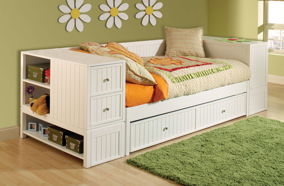 Single white bed with trundle