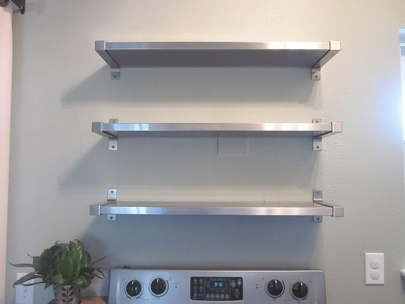 Merveilleux Stainless Steel Wall Shelves For Kitchen