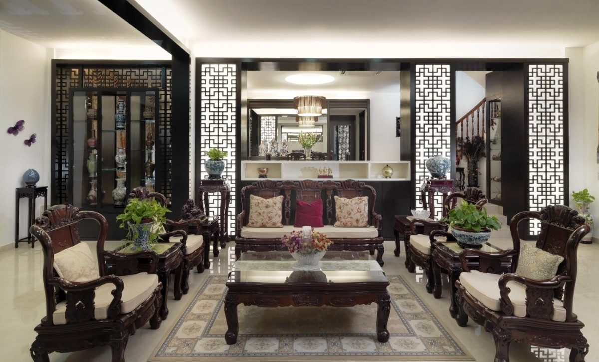 This Stunning Living Room Is Set In Traditional Asian Style