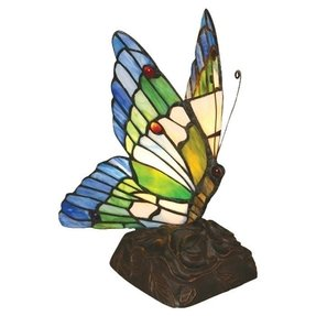 "Tiffany Butterfly 10"" H Table Lamp with 99 Glass Pieces"