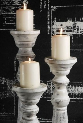 Unfinished Wooden Pillar Candle Holders