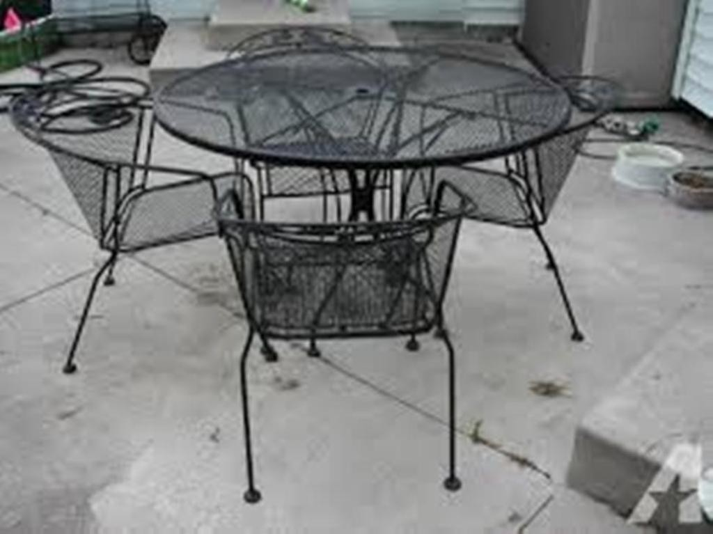 White iron outdoor furniture Garden Wrought Iron Patio Furniture Set Temperance For Sale In Toledo Stadmadridcom Wrought Iron Patio Furniture Sets Ideas On Foter