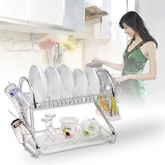 2 Tiers S Shape Chrome Rust-proof Kitchen Dish Cup Drying Rack Drainer Dryer Tray Cutlery Holder Organizer