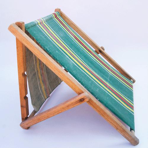 Antique 1920s 30s Wood Folding Stripe Canvas Cloth Beach Lounge