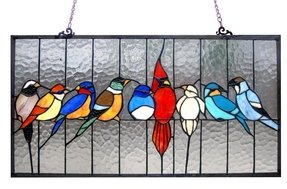 Birds on a wire stained glass 1