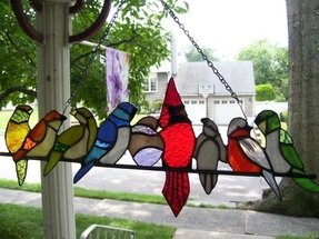 Birds on a wire stained glass 13
