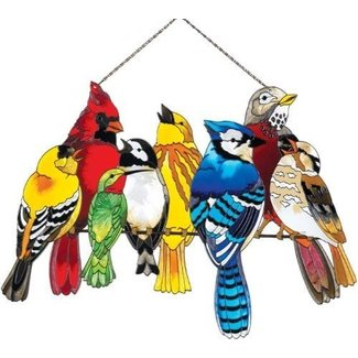 Birds on a wire stained glass 28