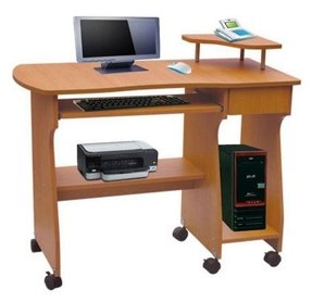 Board cherry wooden computer table desk with wheels dx 1108