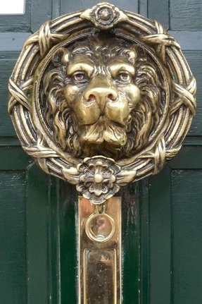 Brass lion head door knocker 2