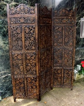 Carved Wood Folding Screen