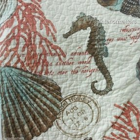 Coastal collection sea life twin quilt seashells corral beach cottage