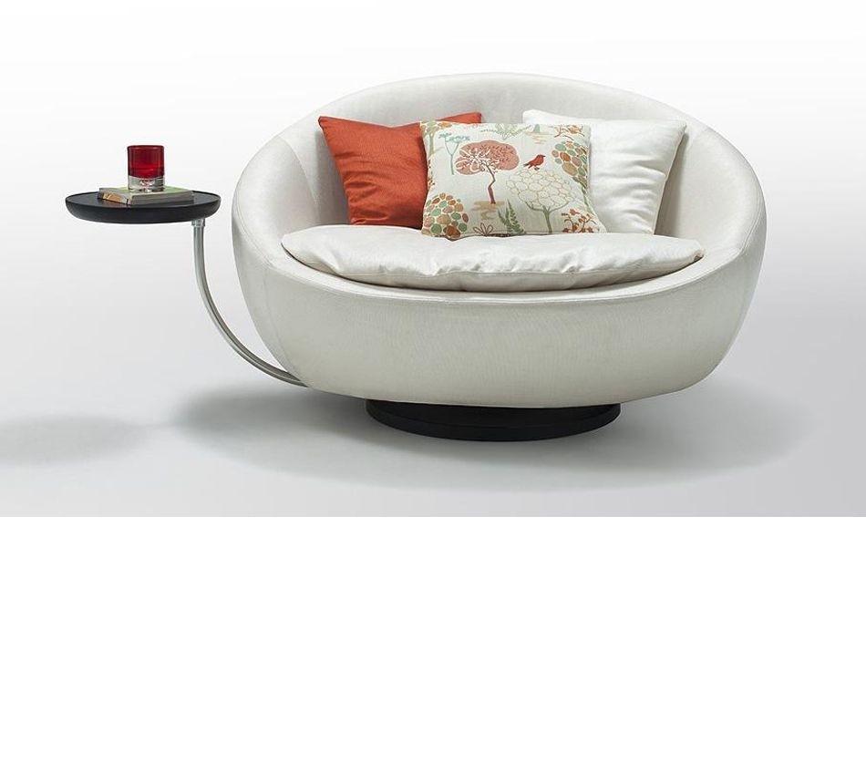 Daybeds Divani Casa Alba Modern Fabric Swivel Round Lounge Chair