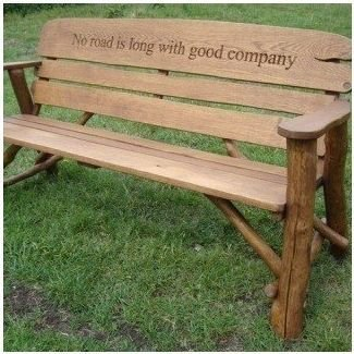 Engraved wooden benches outdoor