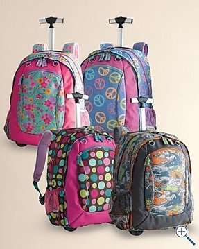 Girls rolling backpacks for school