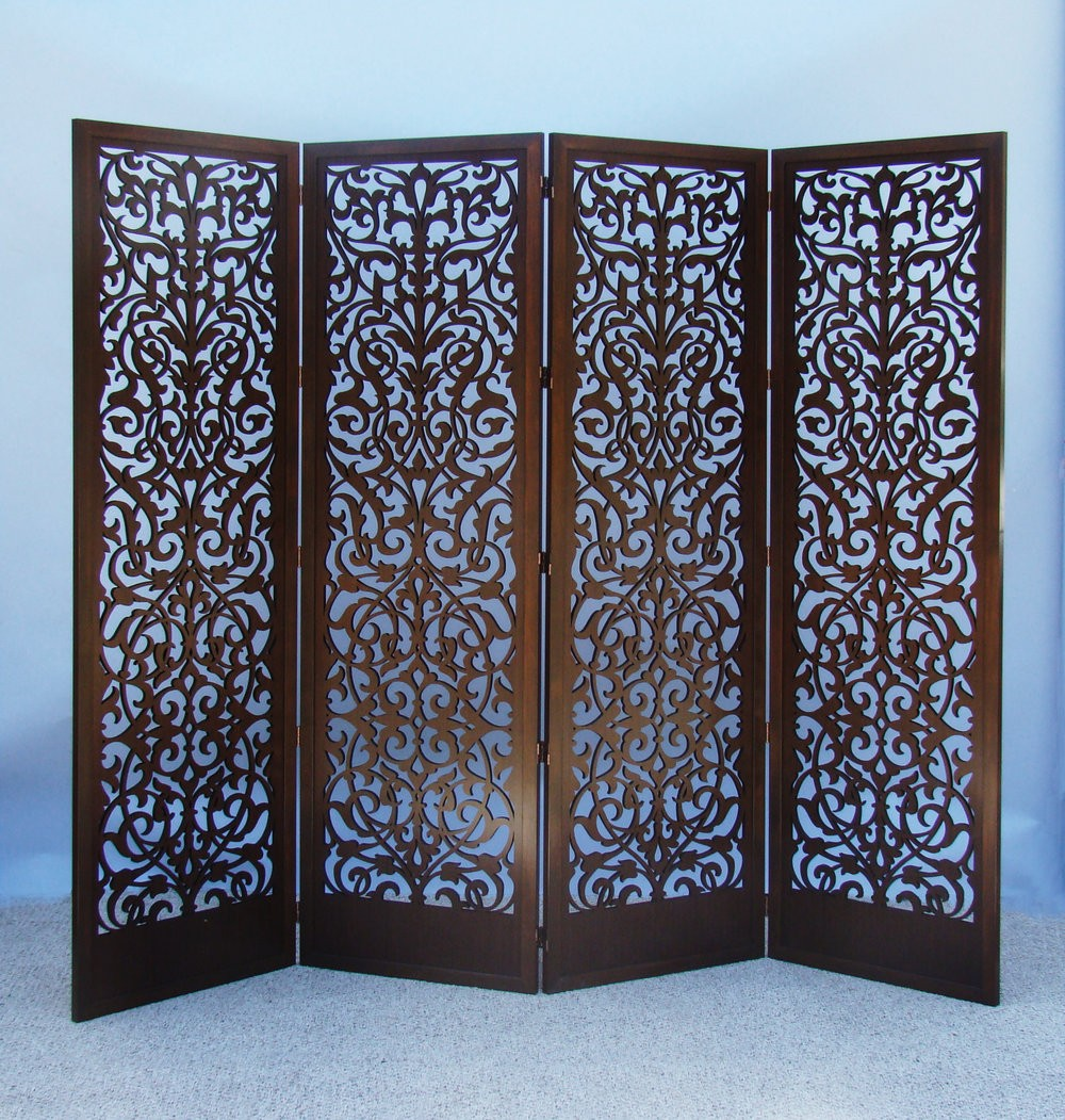 Laser cut wood room divider screen