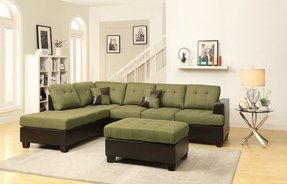 Poundex Bobkona Winden Blended Linen 3-Piece Reversible Sectional Sofa with Ottoman, Peridot
