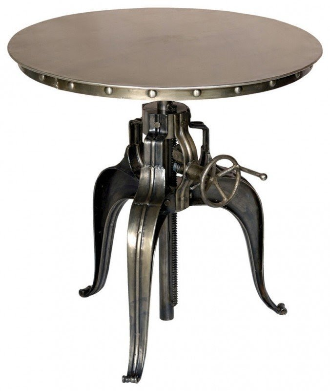 Round Crank Top Metal Bistro Table Industrial Indoor Pub And Bistro Sets