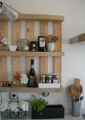 Wooden wall mounted shelves 1