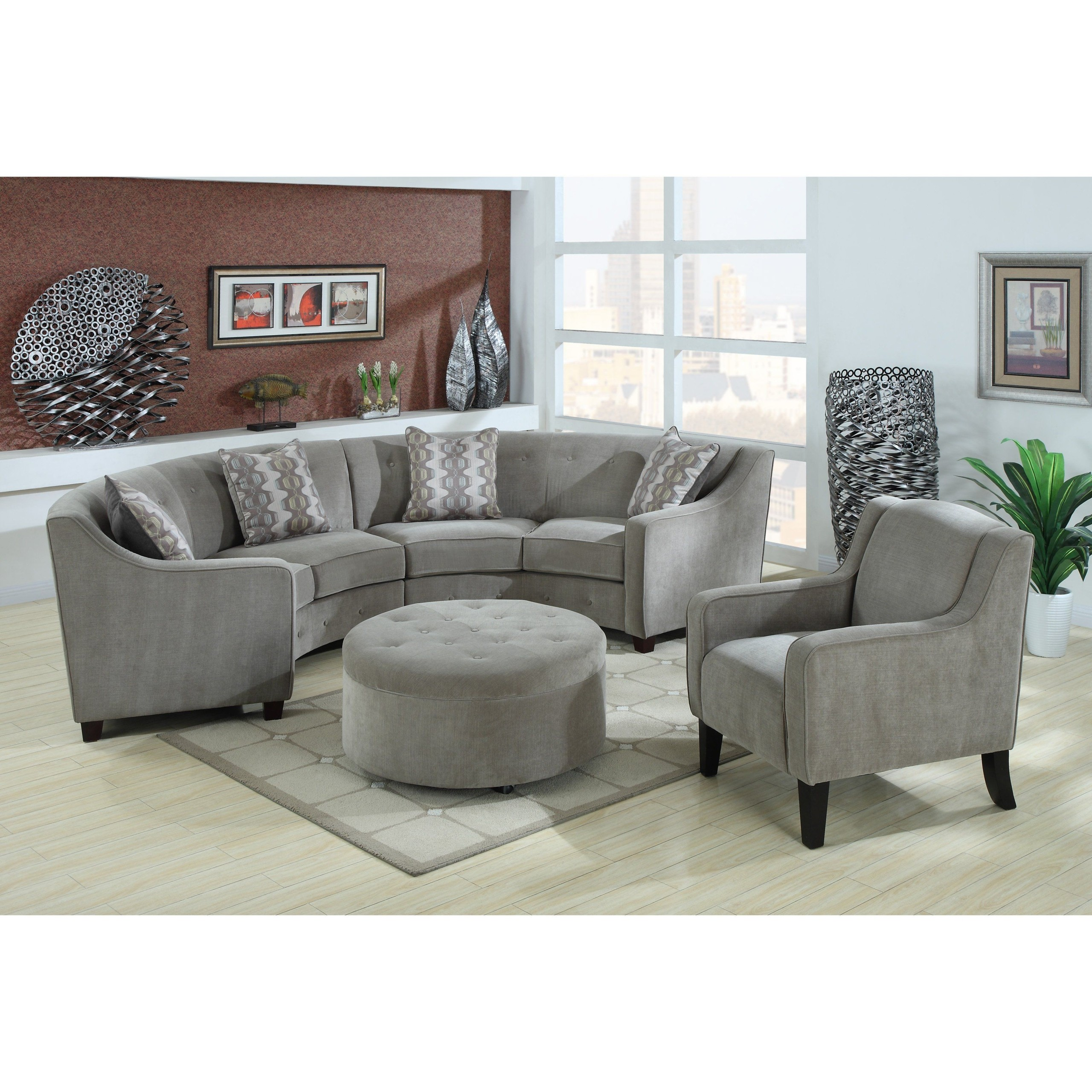 Exceptionnel Bundle 2 Pieces Small Curved Sectional Sofa