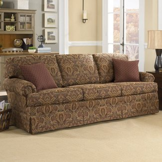 Charles Schneider Altus Brick Fabric Sofa With Accent Pillows Traditional