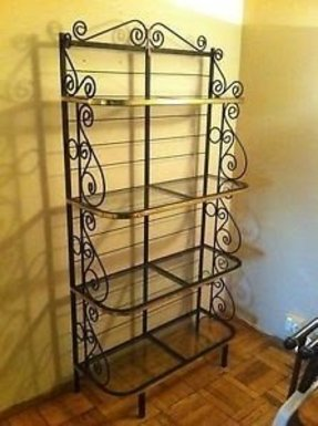Free standing black wrought iron glass shelving unit bakers rack