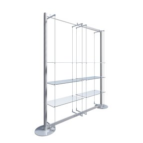 Free standing frame kits with glass shelves