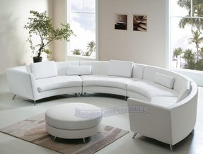 Round leather sofa