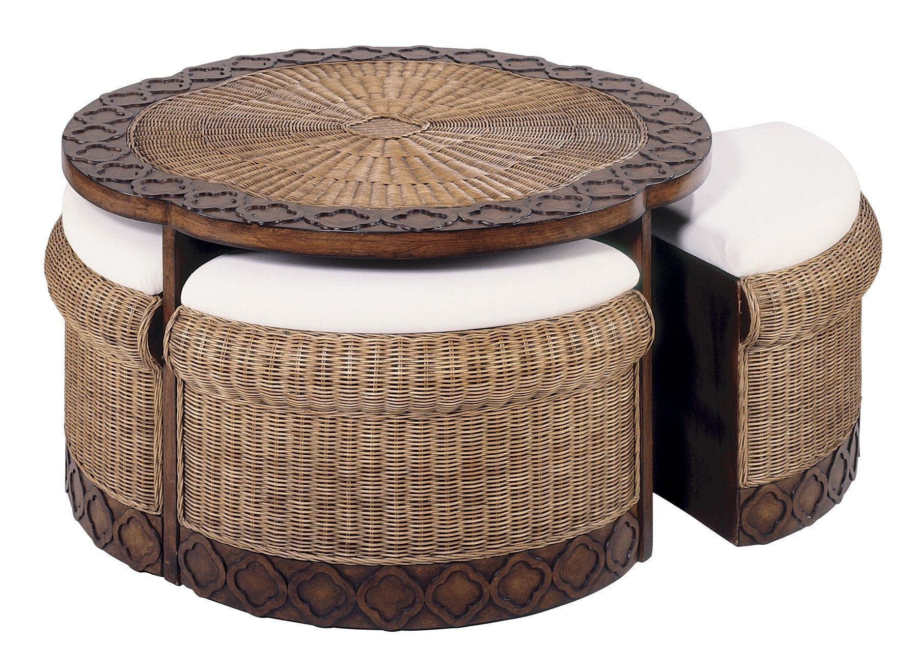 Charmant Round Wicker Ottoman Coffee Table 1