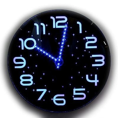 Twilight Stunning Analog Blue Led Wall Clock 30cm