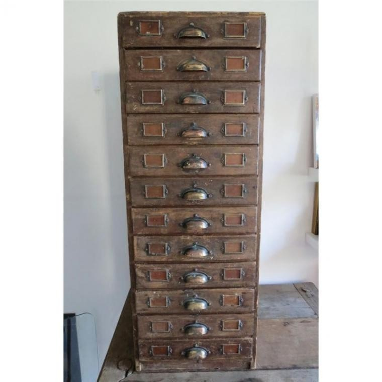 Vintage rustic solid wooden filing 12 drawer storage cabinet cupboard