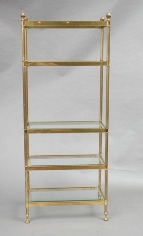 262 labarge brass and glass etagere