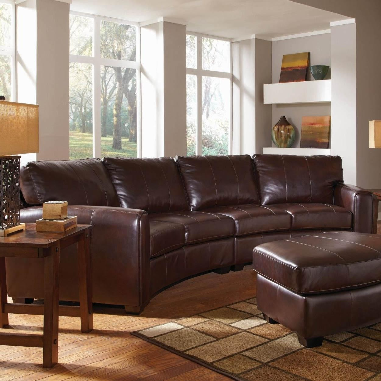 Bon Black Leather Curved Sectional Sofa Landen Contemporary Curved Leather