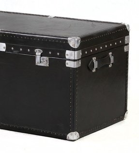Black leather storage trunk large 1