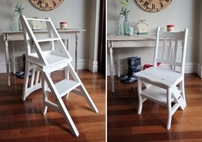 Details about folding library step ladder chair rustic shabby chic